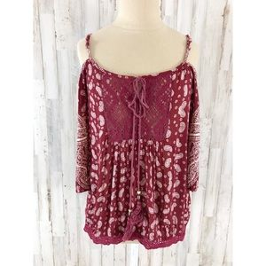 Angie red bohemian cold shoulder blouse S